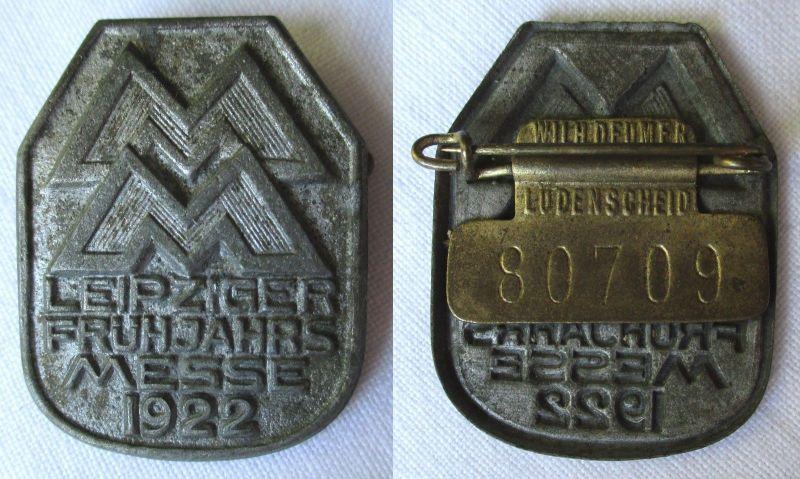Blech Abzeichen Leipziger Frühjahrsmesse 1922 Einkäuferabzeichen (111324)