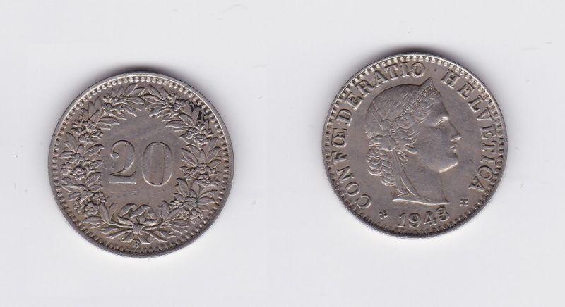 20 Rappen Kupfer Nickel Münze Schweiz 1943 B (118637)