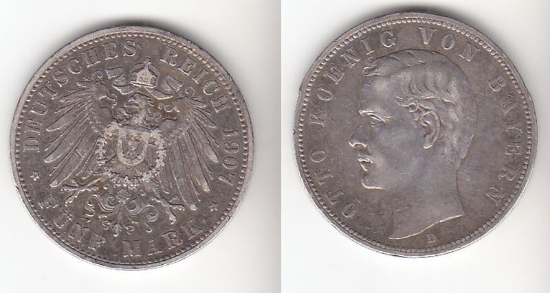 5 Mark Silbermünze Bayern König Otto 1907 Jäger 46  (110808)
