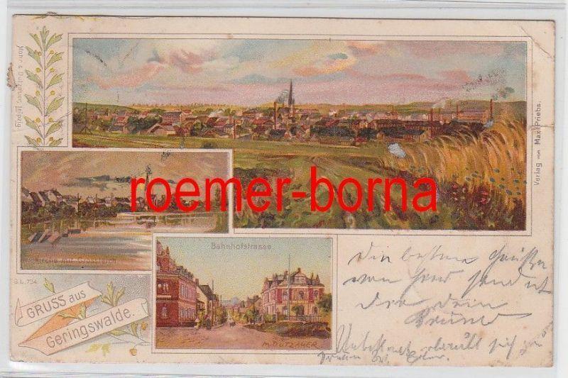 77182 Ak Lithografie Gruss aus Geringswalde Bahnhofstrasse usw. 1899