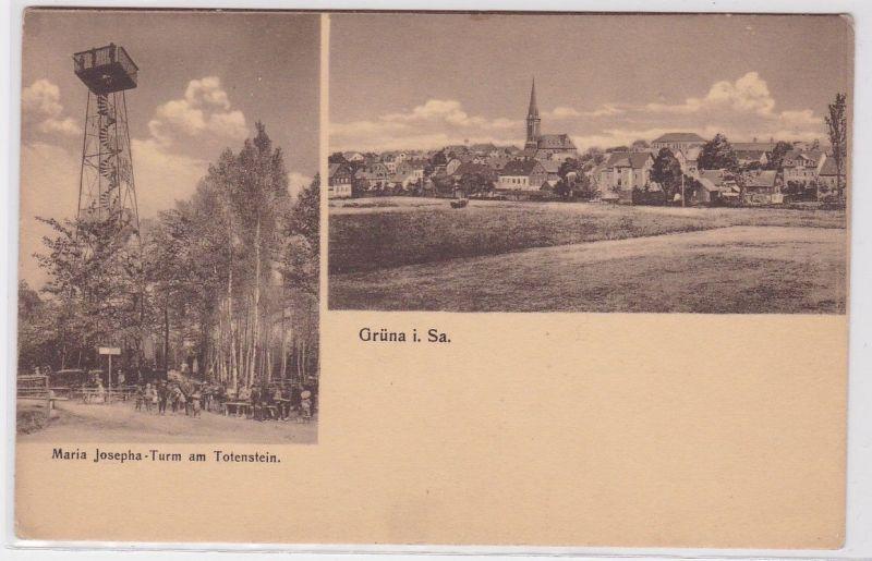 86641 AK Grüna in Sachsen - Maria Josepha-Turm am Totenstein & Ortstotalansicht