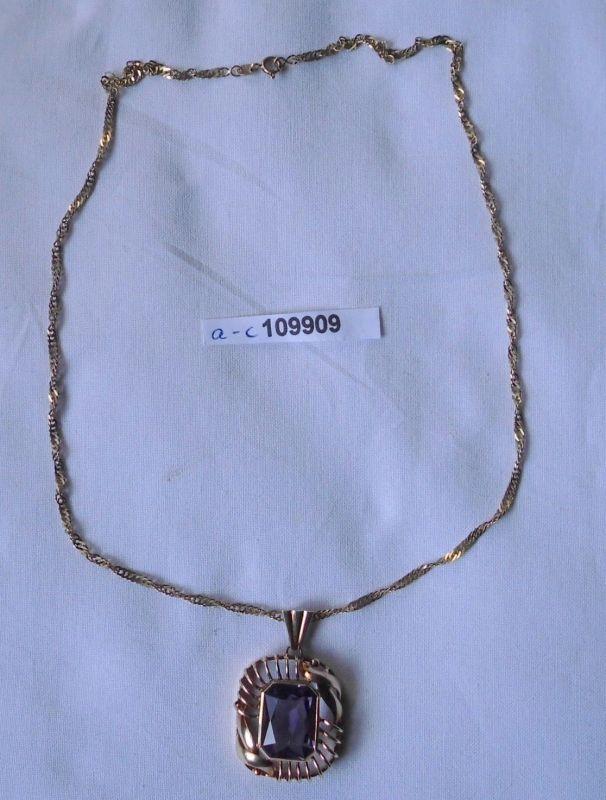 Hübsche Kette 333er Gold mit Anhänger aus 585er Gold mit Lila Stein (109909)