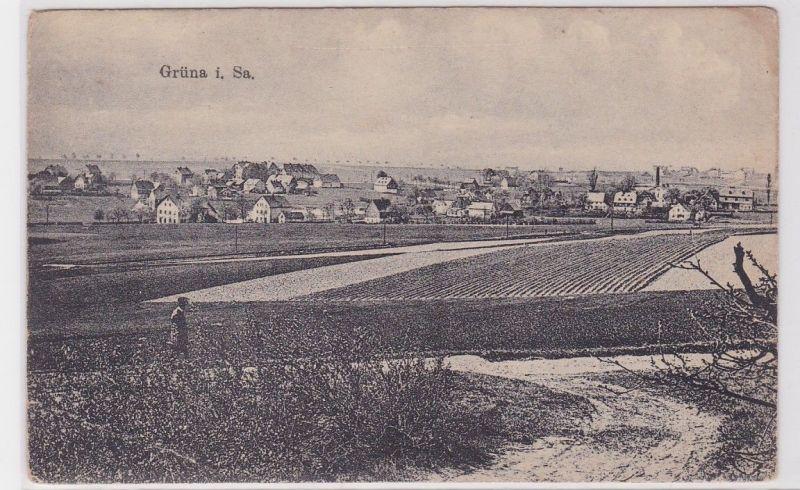 64060 Feldpost AK Grüna in Sachsen - Totalansicht des Ortes 1917