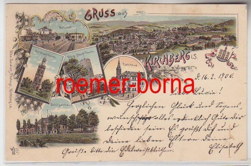 75033 Ak Lithografie Gruss aus Kirchberg i.S. Bahnhof, Schützenhaus usw. 1900