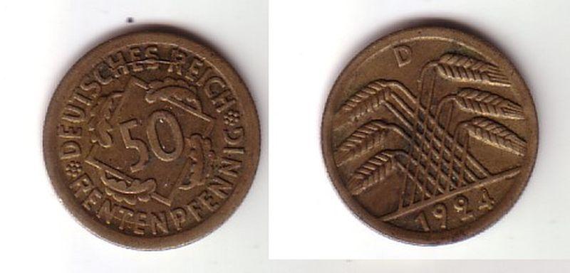 50 Rentenpfennig Messing Münze Weimarer Republik 1924 D Jäger 310