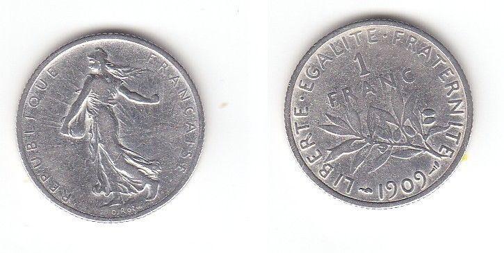 1 Franc Silber Münze Frankreich 1909 (113070)