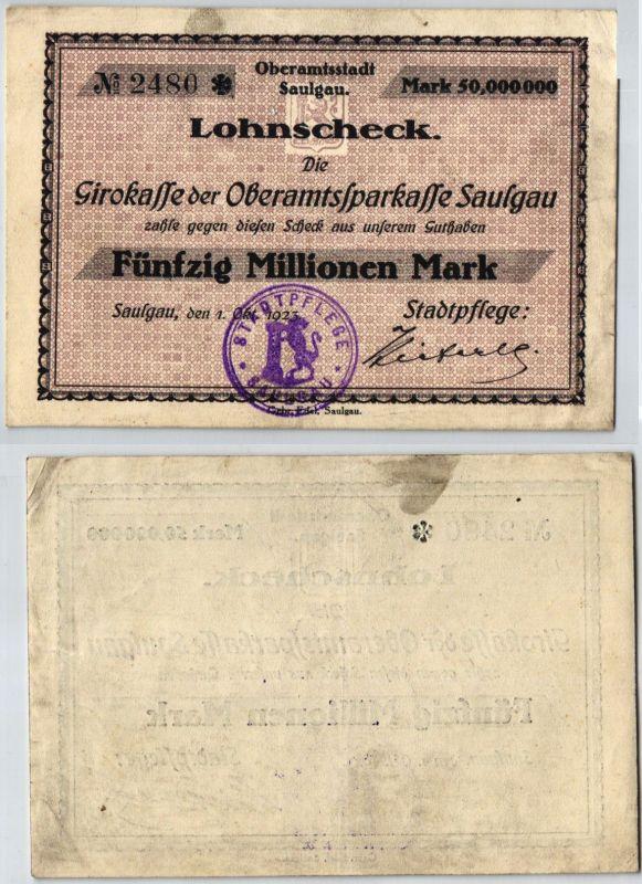 50 Millionen Mark Banknote Girokasse Oberamtssparkasse Saulgau 1.10.1923(121269)
