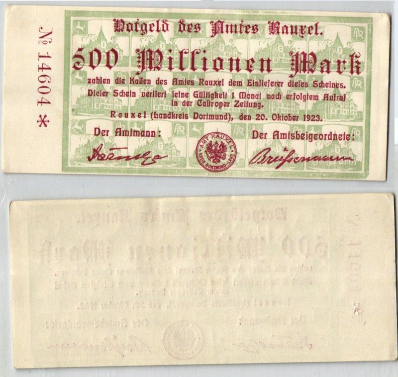 500 Millionen Mark Banknote Inflation Amt Rauxel 20.10.1923 (120319)
