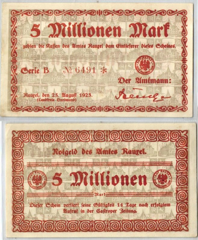 5 Millionen Mark Banknote Inflation Amt Rauxel 25.08.1923 (121035)