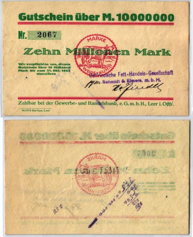10Millionen Mark Banknote Inflation Handelsbank Leer in Ost. 31.10.1923 (120468)