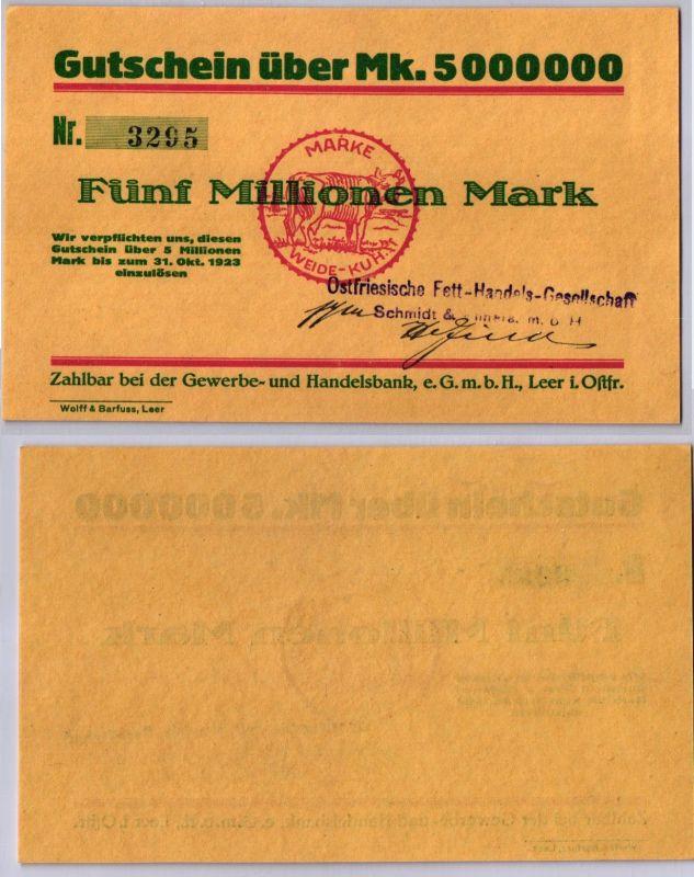 5 Millionen Mark Banknote Inflation Handelsbank Leer in Ost. 31.10.1923 (120013)