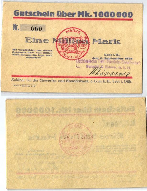 1 Million Mark Banknote Inflation Handelsbank Leer in Ostfr. 6.9.1923 (121454)