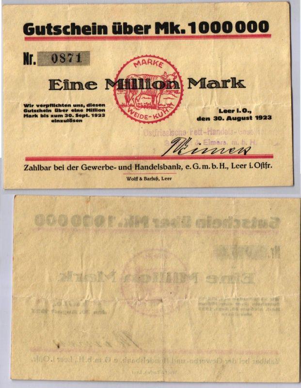 1 Million Mark Banknote Inflation Handelsbank Leer in Ostfr. 30.8.1923 (122470)