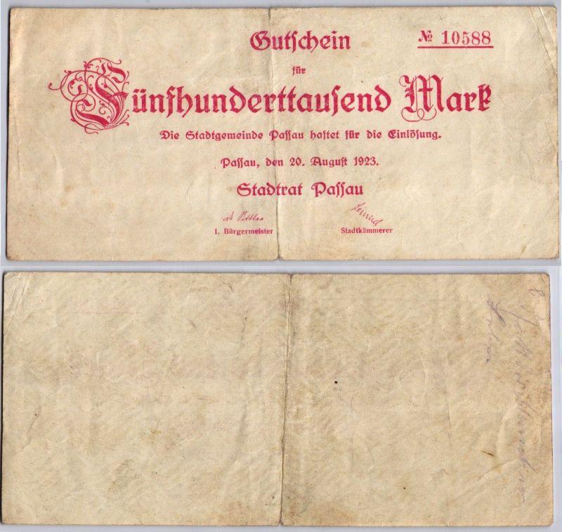 500000 Mark Banknote Inflation Stadt Passau 20.08.1923 (120499)