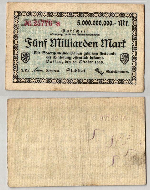 5 Milliarden Mark Banknote Inflation Stadt Passau 25.10.1923 (122842)