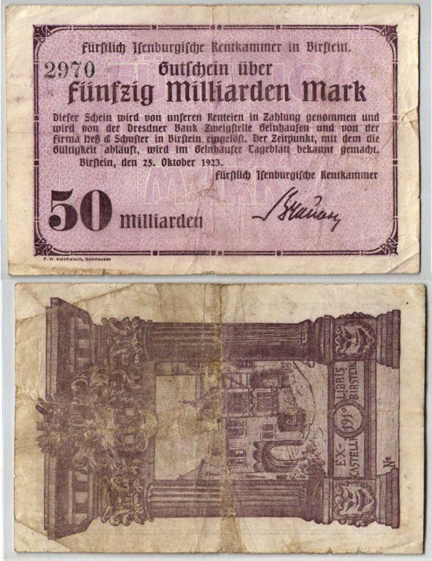 50 Milliarden Mark Banknote Inflation Rentkammer in Birstein 25.10.1923 (120939)