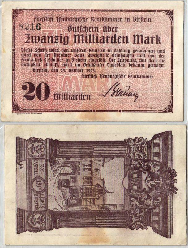 20 Milliarden Mark Banknote Inflation Rentkammer in Birstein 25.10.1923 (121650)