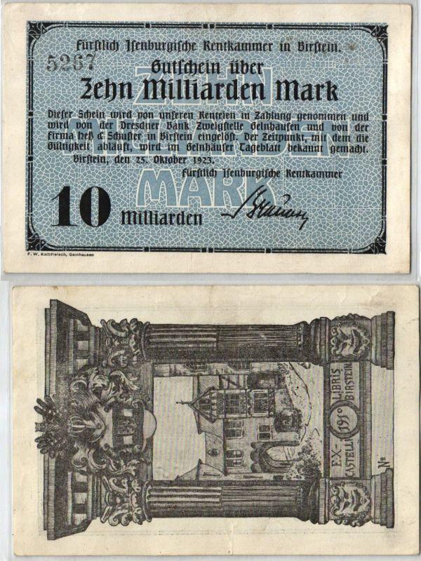 10 Milliarden Mark Banknote Inflation Rentkammer in Birstein 25.10.1923 (122844)