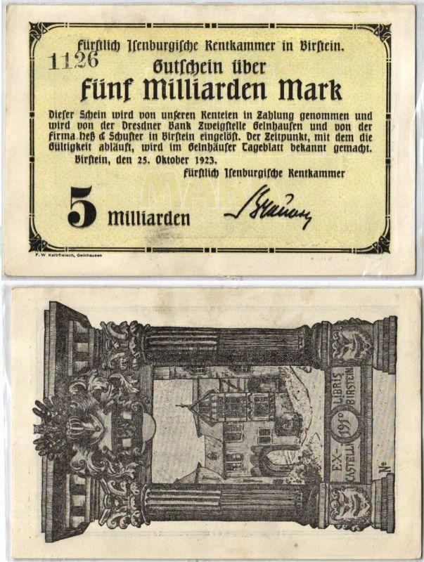 5 Milliarden Mark Banknote Inflation Rentkammer in Birstein 25.10.1923 (120418)