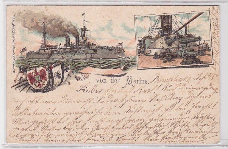 78009 Militär AK Gruss von der Marine / Wehrmacht SMS mit Flakgeschützen 1901