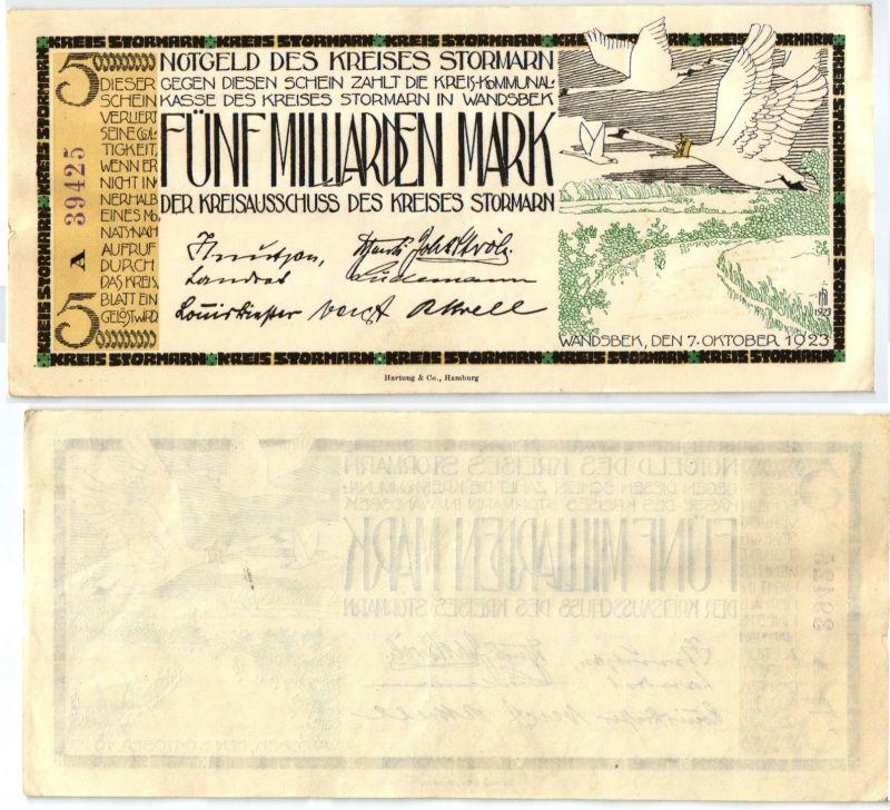 5 Milliarden Mark Banknote Inflation Kreis Stormarn 25.9.1923 (121671)