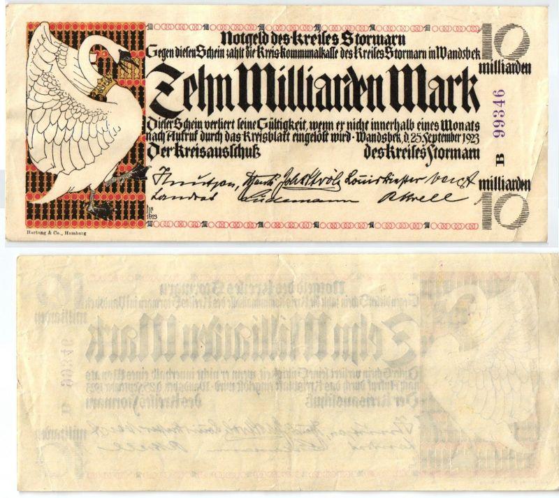 10 Milliarden Mark Banknote Inflation Kreis Stormarn 25.9.1923 (122813)