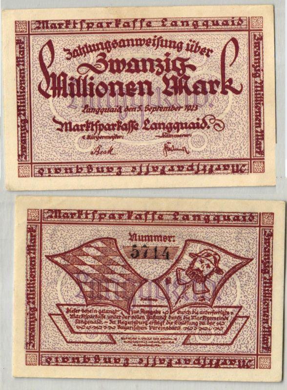 20 Millionen Mark Banknote Inflation Marktsparkasse Langquaid 5.9.1923 (122738)