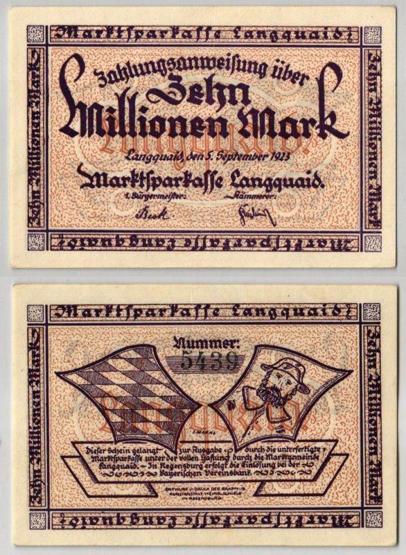 10 Millionen Mark Banknote Inflation Marktsparkasse Langquaid 5.9.1923 (123171)