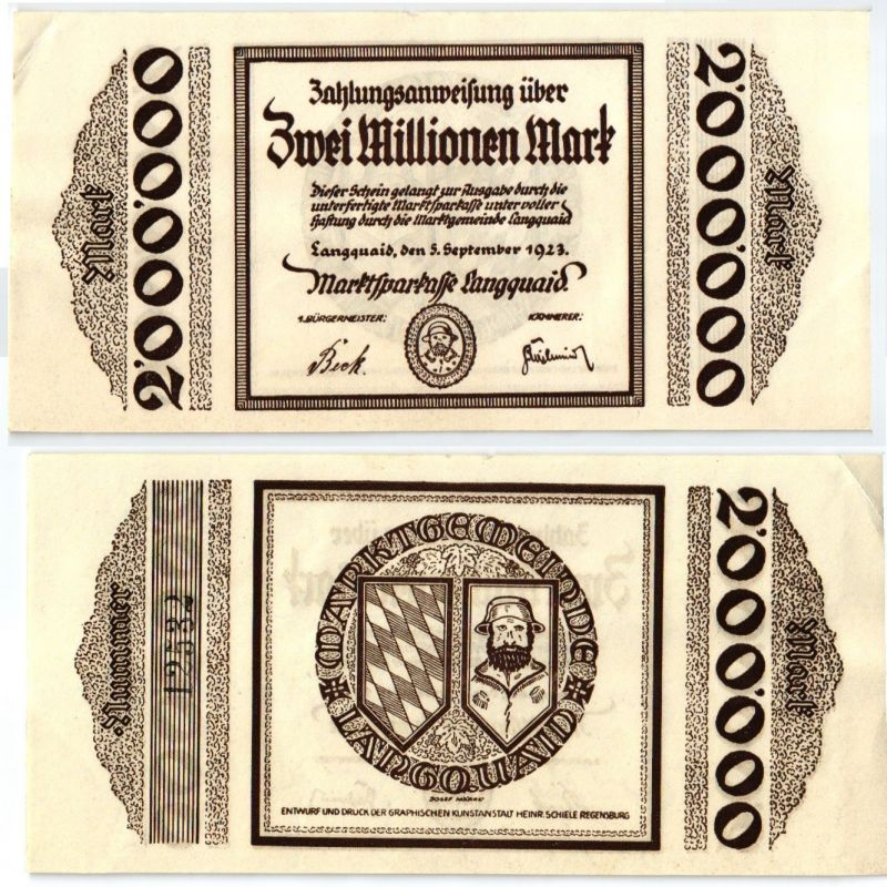 2 Millionen Mark Banknote Inflation Marktsparkasse Langquaid 5.9.1923 (120767)