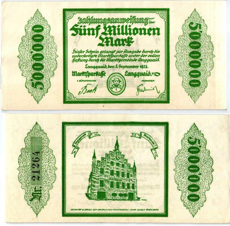 5 Millionen Mark Banknote Inflation Marktsparkasse Langquaid 5.9.1923 (122987)