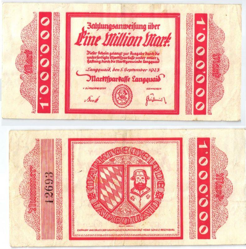1 Million Mark Banknote Inflation Marktsparkasse Langquaid 5.9.1923 (122987)