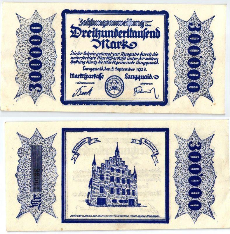 300000 Mark Banknote Inflation Marktsparkasse Langquaid 5.9.1923 (122875)