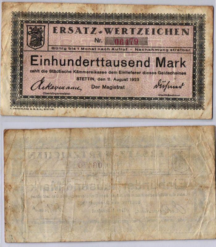 100000 Mark Banknote städt.Kämmereikasse Stettin 11.08.1923 (121374)