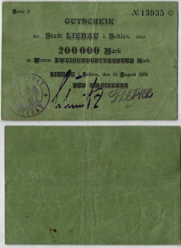 200000 Mark Banknote Gutschein Stadt Liebau in Schlesien 14.08.1923 (120955)