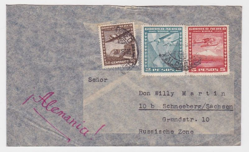 85133 Flugpost Brief Chile nach Schneeberg im Erzgebirge 1951