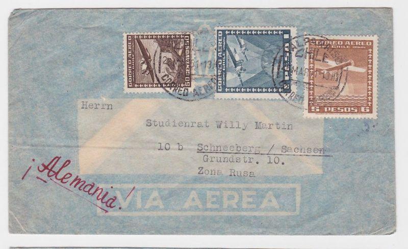 74761 Flugpost Brief Chile nach Schneeberg im Erzgebirge 1951