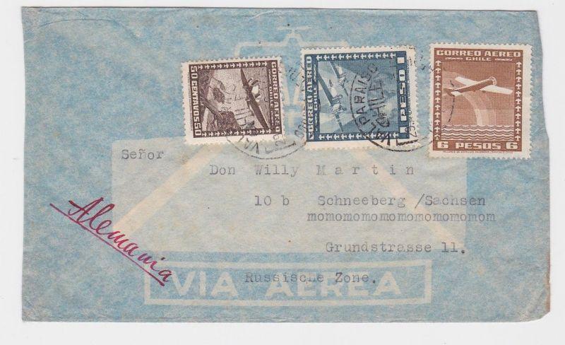 85036 Flugpost Brief Chile nach Schneeberg im Erzgebirge 1950