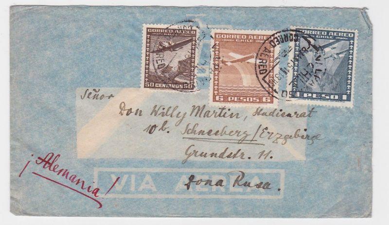 82758 Flugpost Brief Chile nach Schneeberg im Erzgebirge 1951