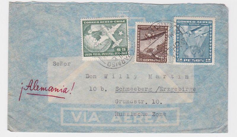 82736 Flugpost Brief Chile nach Schneeberg im Erzgebirge 1950