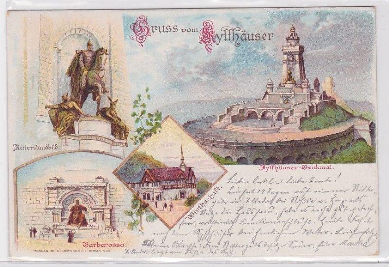 51943 AK Gruss vom Kyffhäuser - Reiterstandbild, Barbarossa, Kyffhäuser-Denkmal