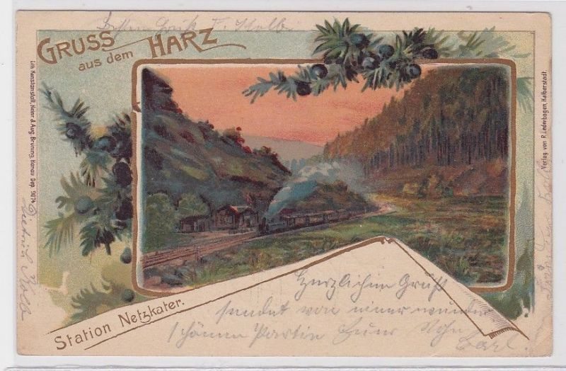 82802 Lithografie AK Gruss aus dem Harz - Station Netzkater 1901