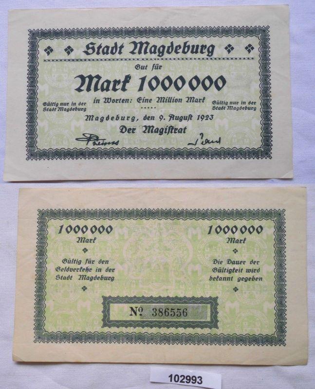 1 Million Mark Banknote Inflation Magdeburg 9.August 1923 (102993)