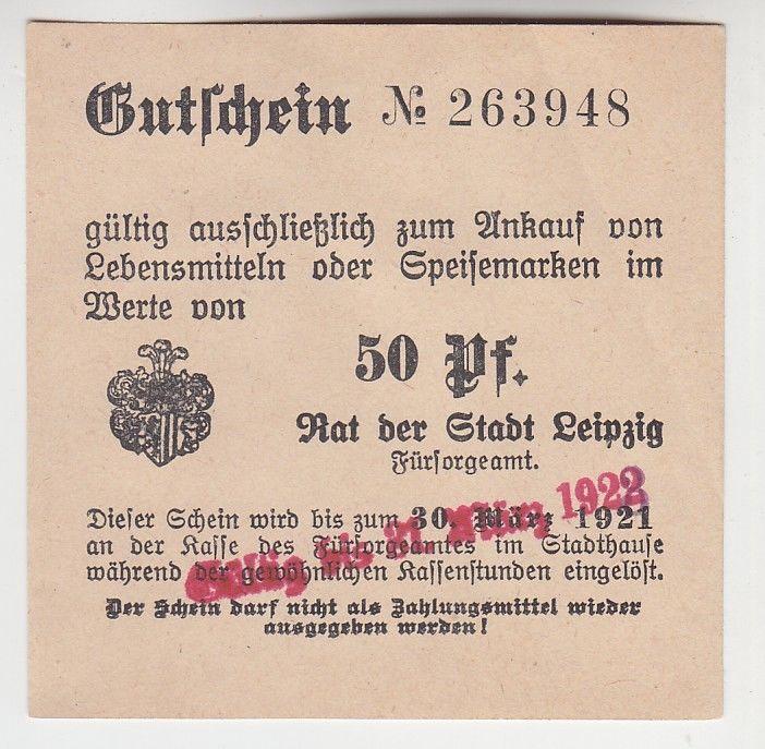 50 Pfennig Lebensmittel Gutschein Stadt Leipzig 30.03.1921 (120359)