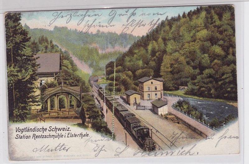 72930 Ak Station Rentzschmühle im Elsterthale mit Dampflok 1904