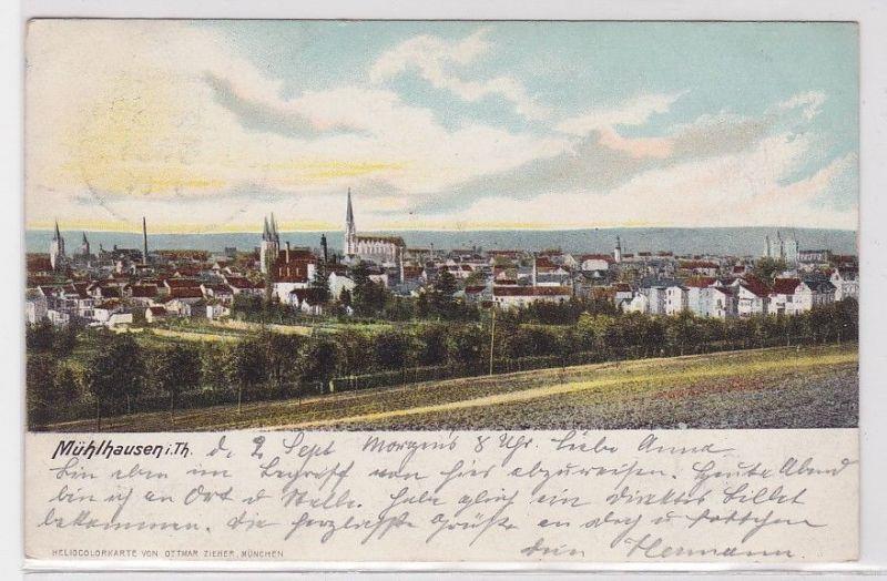 89020 Ak Mühlhausen in Thüringen Totalansicht 1901
