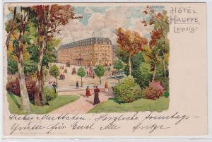 87256 AK Hotel Hauffe Leipzig davor Park-Partie mit Kutschen & Straßenbahn 1903