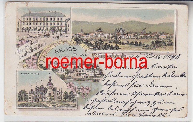 75122 Ak Lithografie Gruss aus Bückeburg Meyer´s Hotel Deutsches Haus 1898