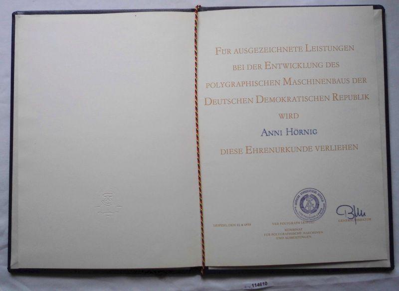 DDR Ehrenurkunde VEB Polygraph Leipzig 11.4.1975 (114610)