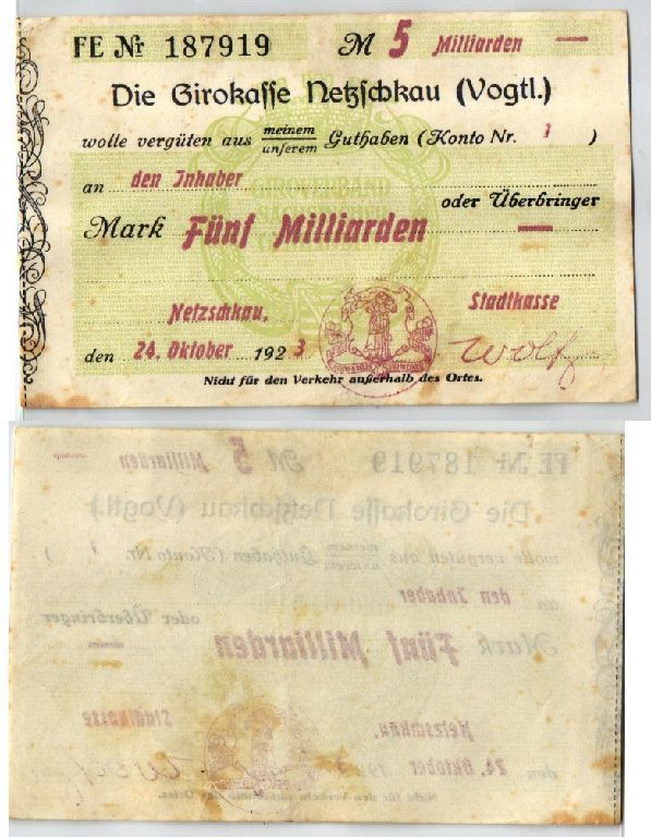 5 Milliarden Mark Banknote Inflation Girokasse Netzschkau 24.10.1923 (123531)