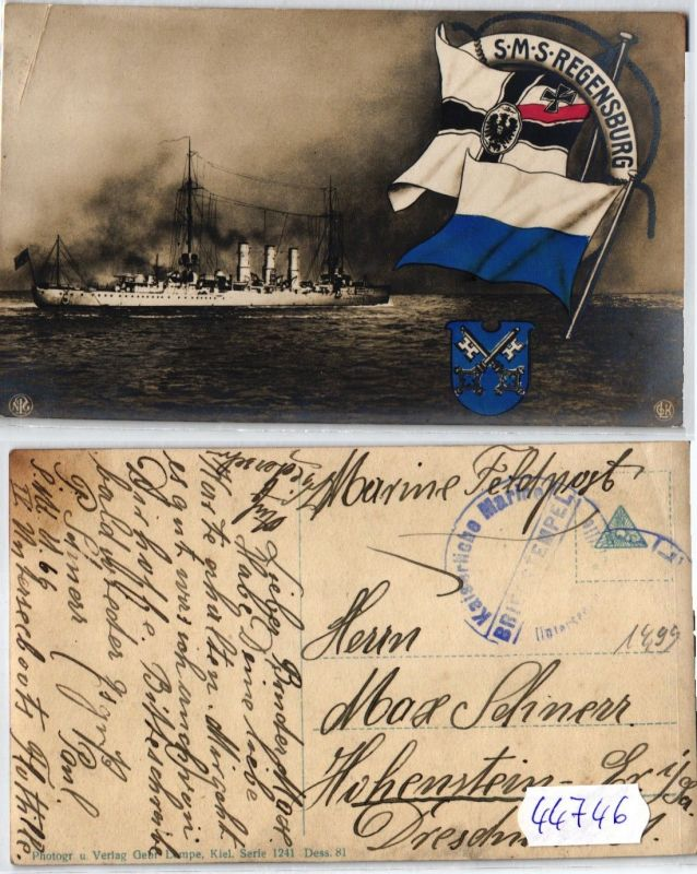 44746 Feldpost AK Kriegsschiff kleiner Kreuzer kaiserliche Marine SMS Regensburg
